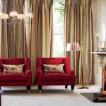 Интерьер с шторами для гостинной